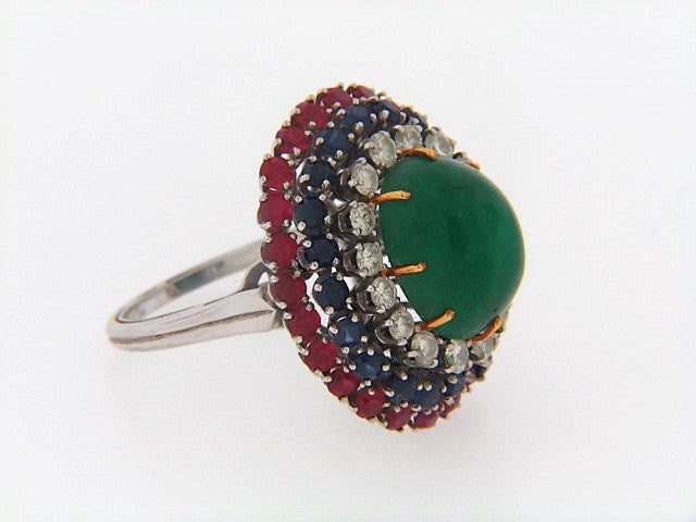 PLATINUM MULTI-GEMSTONE BOMBE FORM RING | 18 Karat Appraisers | Beverly Hills, CA | Fine Jewelry