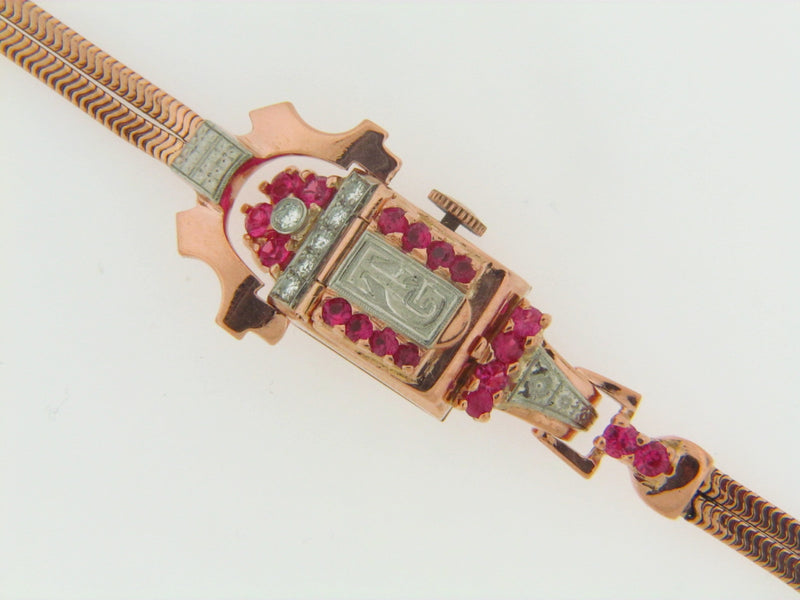 14K ROSE GOLD RUBY AND DIAMOND WRISTWATCH | 18 Karat Appraisers | Beverly Hills, CA | Fine Jewelry