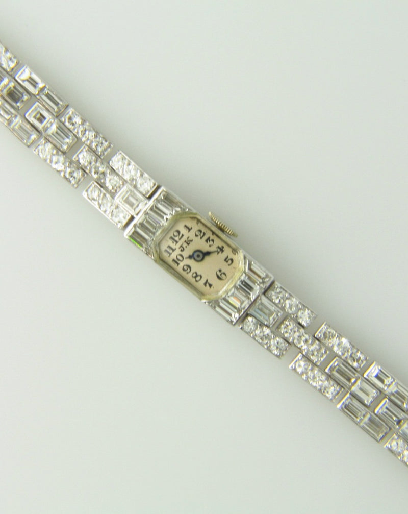 Art Deco, Platinum and 18K White Gold, Diamond Wristwatch