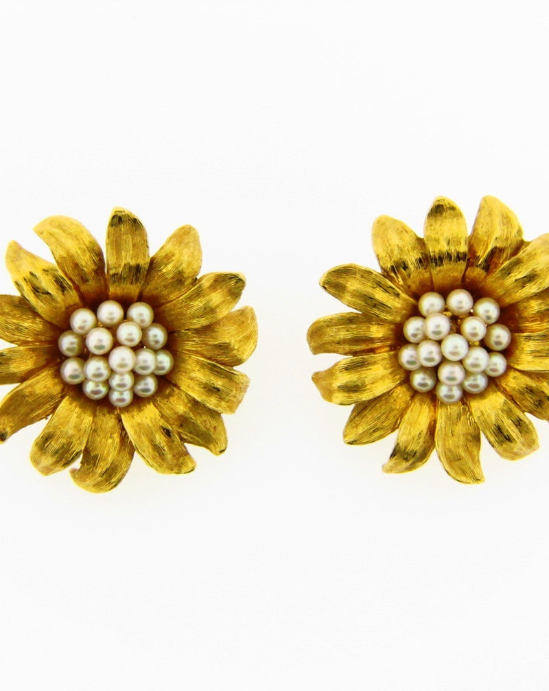 18K Yellow Gold Flower Earrings | 18 Karat Appraisers | Beverly Hills, CA | Fine Jewelry