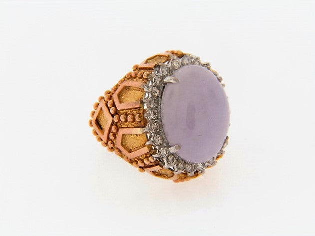 14K-YG LAVENDER JADE AND DIAMOND ORNATE RING | 18 Karat Appraisers | Beverly Hills, CA | Fine Jewelry