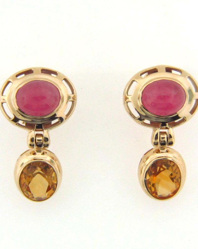 14K Yellow Gold Pink Tourmaline and Citrine Earrings | 18 Karat Appraisers | Beverly Hills, CA | Fine Jewelry