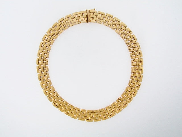 18K-YG FIVE ROW PANTHER STYLE LINK NECKLACE