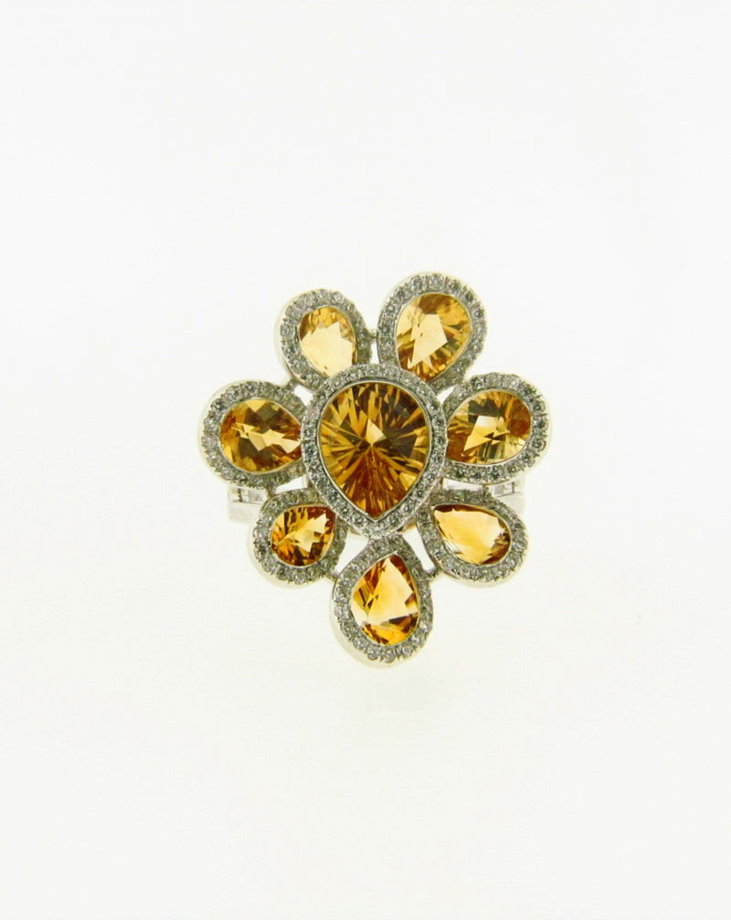 14K White Gold Citrine and Diamond Ring | 18 Karat Appraisers | Beverly Hills, CA | Fine Jewelry