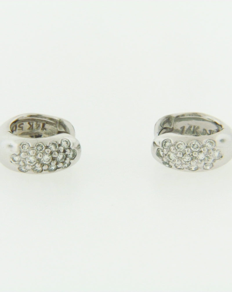 14K WHITE GOLD DIAMOND HUGGIE EARRINGS | 18 Karat Appraisers | Beverly Hills, CA | Fine Jewelry