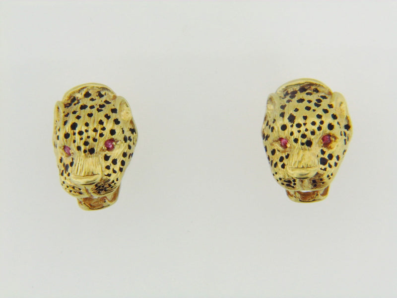 14K-YG LEOPARD EARRINGS | 18 Karat Appraisers | Beverly Hills, CA | Fine Jewelry