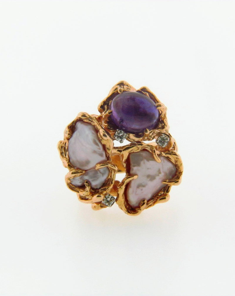 14K Yellow Gold Pearl, Diamond, and Amethyst Ring | 18 Karat Appraisers | Beverly Hills, CA | Fine Jewelry