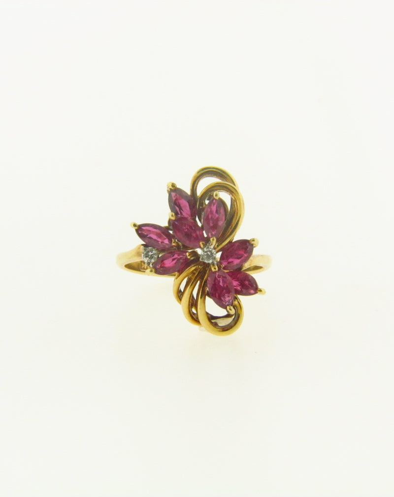 Retro 14K Yellow and White Gold, Ruby and Diamond Ring | 18 Karat Appraisers | Beverly Hills, CA | Fine Jewelry