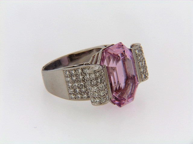 PLATINUM PINK KUNZITE AND DIAMOND RING | 18 Karat Appraisers | Beverly Hills, CA | Fine Jewelry
