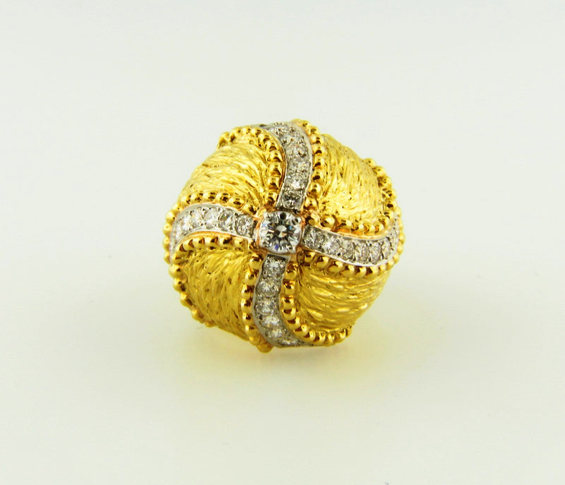 18K Yellow Gold and Platinum, Diamond Bombe Ring | 18 Karat Appraisers | Beverly Hills, CA | Fine Jewelry