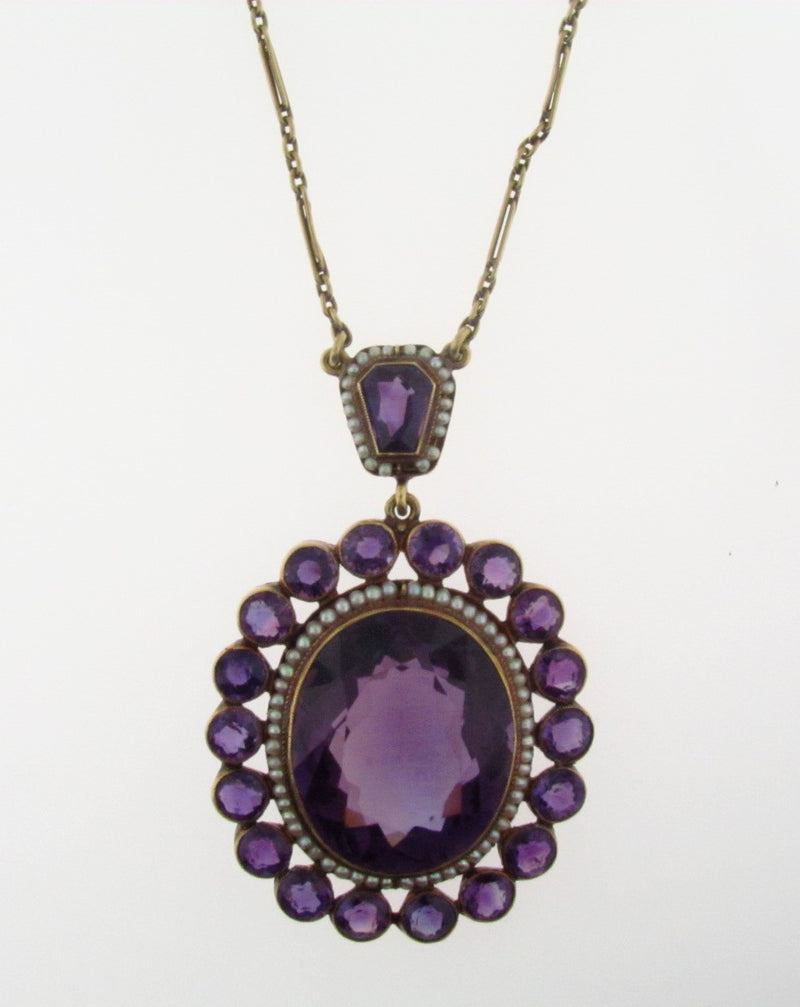 Victorian, 14K Yellow Gold Amethyst and Seed Pearl Pendant | 18 Karat Appraisers | Beverly Hills, CA | Fine Jewelry