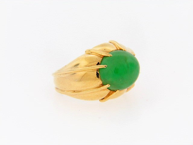 18K-YG GREEN JADEITE JADE RING
