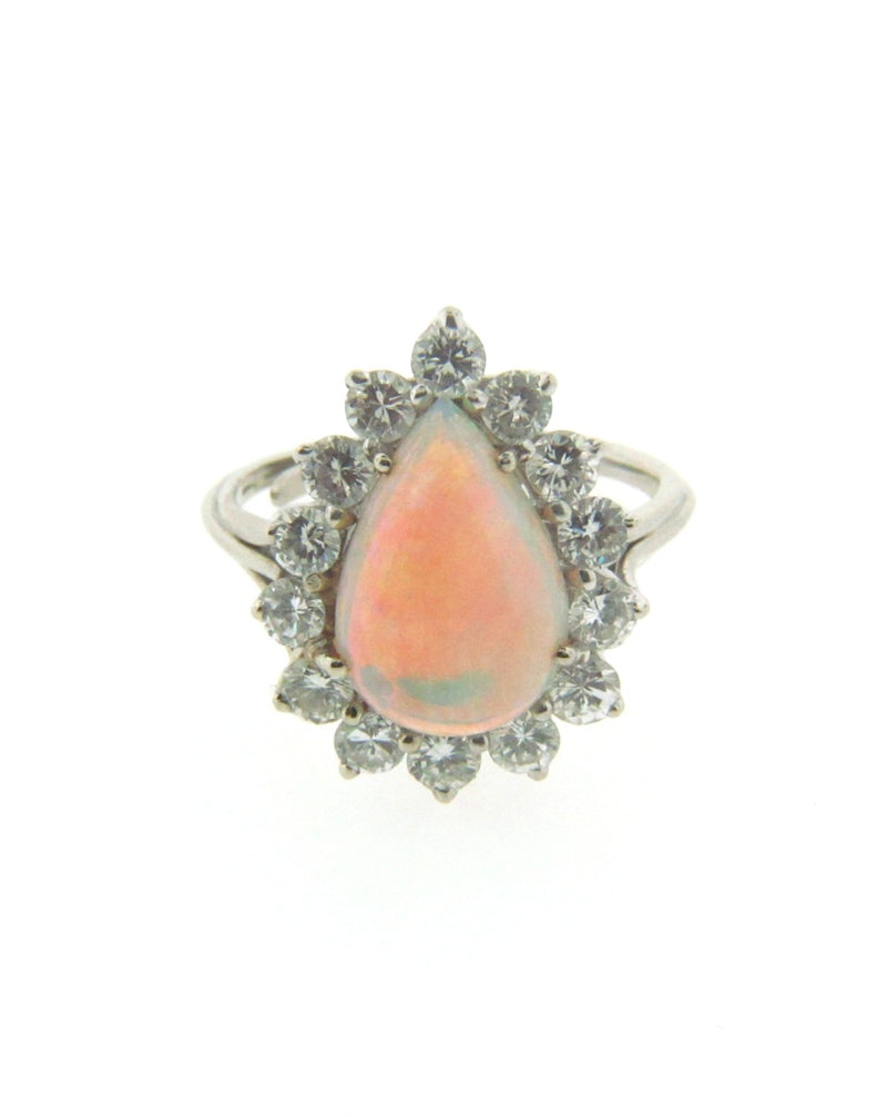 14K White Gold Opal and Diamond Ring | 18 Karat Appraisers | Beverly Hills, CA | Fine Jewelry