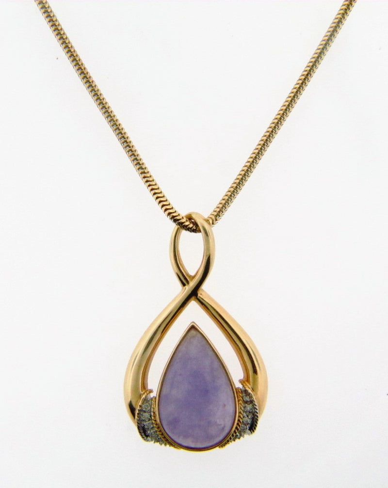 14K Yellow Gold Lavender Jade and Diamond Pendant | 18 Karat Appraisers | Beverly Hills, CA | Fine Jewelry