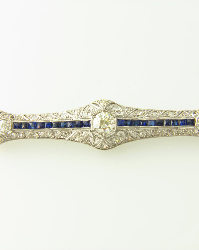 Art Deco, Platinum Diamond and Sapphire Brooch | 18 Karat Appraisers | Beverly Hills, CA | Fine Jewelry