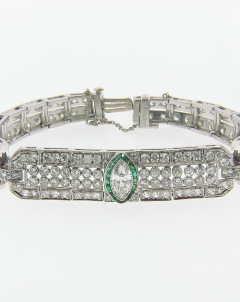 Art Deco, Platinum Diamond and Emerald Bracelet