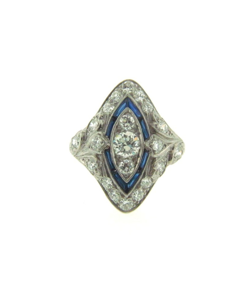 Art Deco, Platinum Diamond and Sapphire Ring