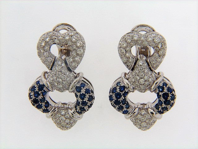 18K-WG SAPPHIRE AND DIAMOND DOOR KNOCKER EARRINGS
