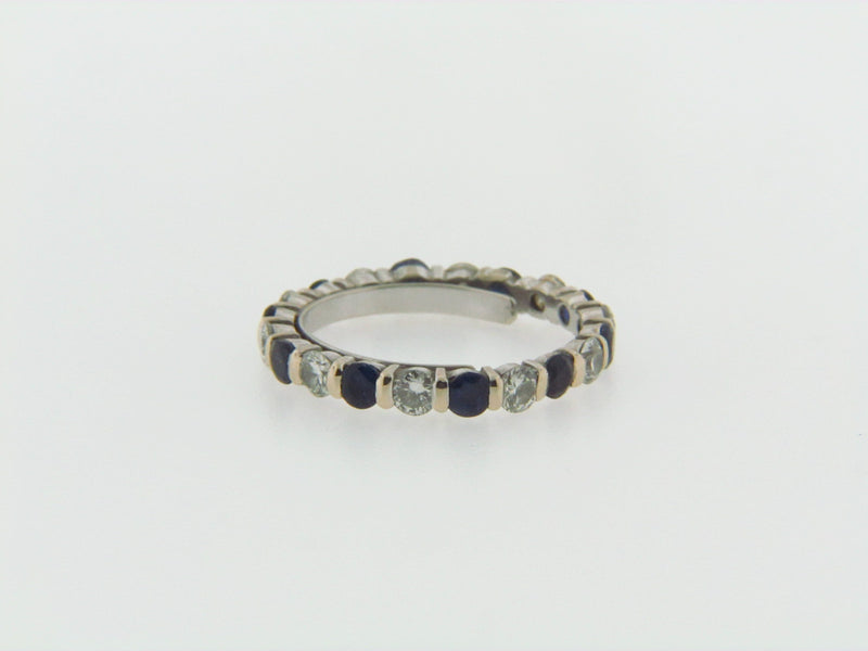 18K WHITE GOLD DIAMOND AND SAPPHIRE ETERNITY BAND | 18 Karat Appraisers | Beverly Hills, CA | Fine Jewelry