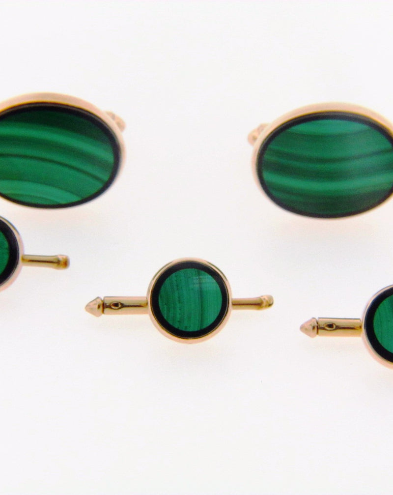 14K Yellow Gold Malachite and Onyx Dress Set | 18 Karat Appraisers | Beverly Hills, CA | Fine Jewelry
