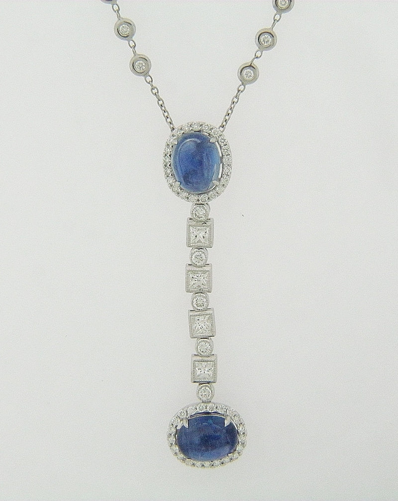 18K WHITE GOLD SAPPHIRE AND DIAMOND PENDANT | 18 Karat Appraisers | Beverly Hills, CA | Fine Jewelry