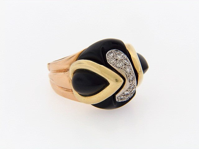"18K-YG+RG ONYX AND DIAMOND DOME RING BY ""LA TRIOMPHE"""
