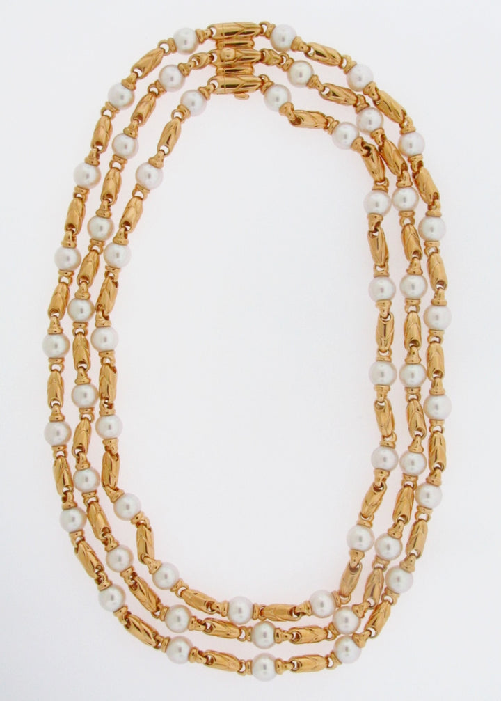"18K-YG PEARL NECKLACE BY ""BVLGARI"""