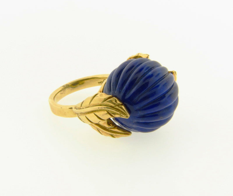 18K Yellow Gold, Lapis Lazuli Bead Ring | 18 Karat Appraisers | Beverly Hills, CA | Fine Jewelry