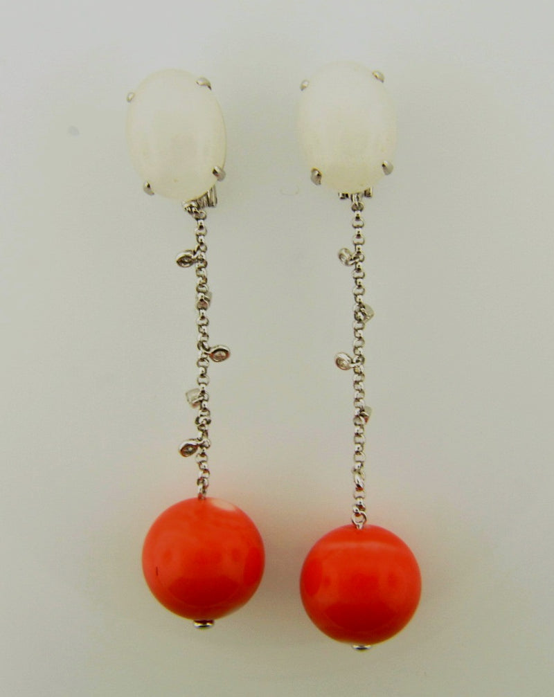 18K White Gold, Coral Drop Earrings | 18 Karat Appraisers | Beverly Hills, CA | Fine Jewelry