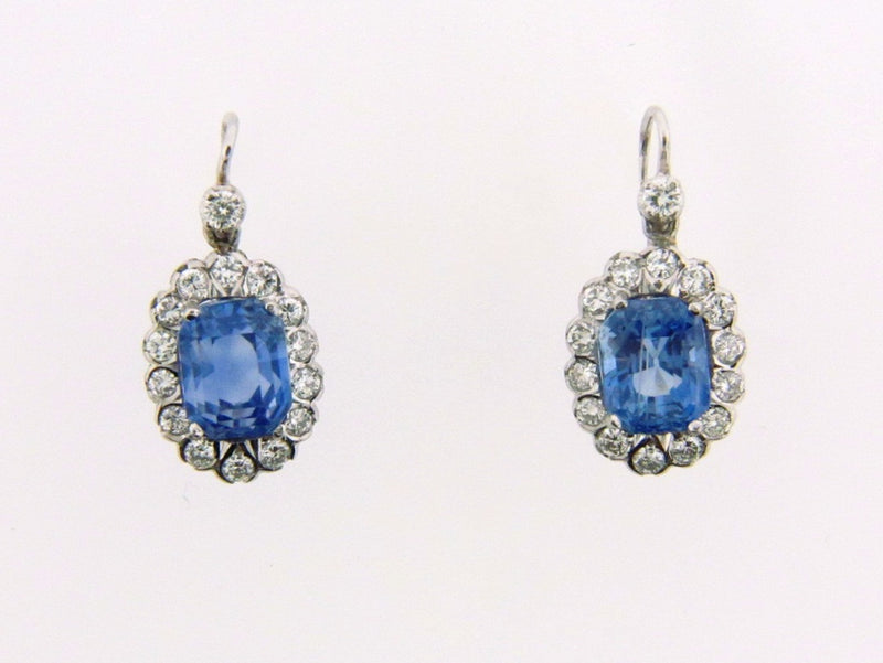 14K White Gold Sapphire and Diamond Dangling Earrings | 18 Karat Appraisers | Beverly Hills, CA | Fine Jewelry