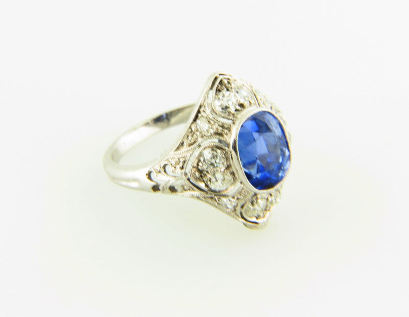 Edwardian Platinum, Sapphire and Diamond Ring
