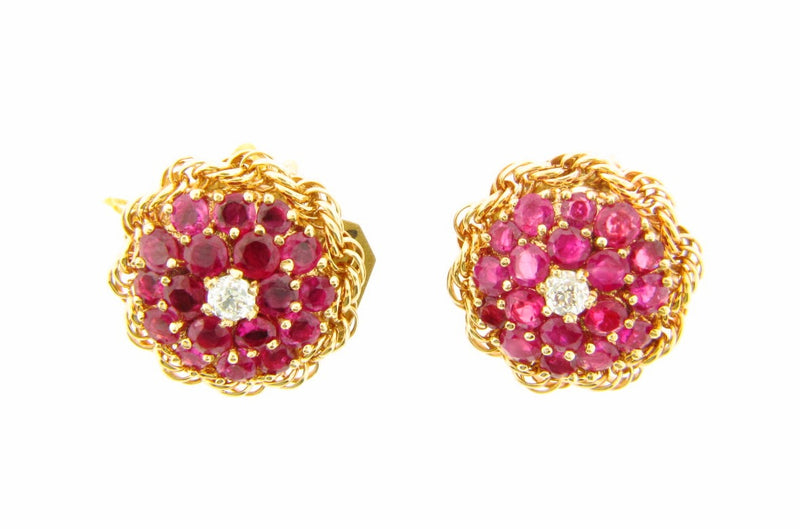 Retro 14K Rose Gold, Ruby and Diamond Earrings | 18 Karat Appraisers | Beverly Hills, CA | Fine Jewelry