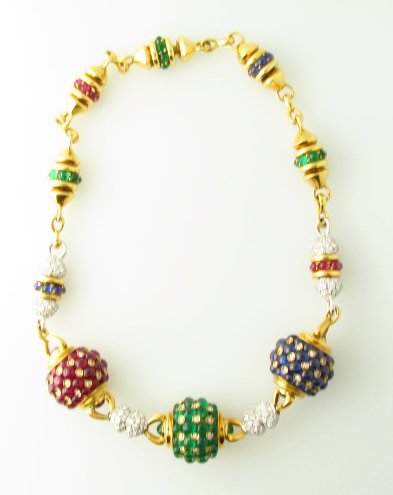 18K Yellow Gold, Diamond and Colored Stone Necklace | 18 Karat Appraisers | Beverly Hills, CA | Fine Jewelry