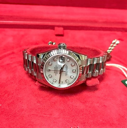 18K-WG LADIES ROLEX PRESIDENT WRISTWATCH