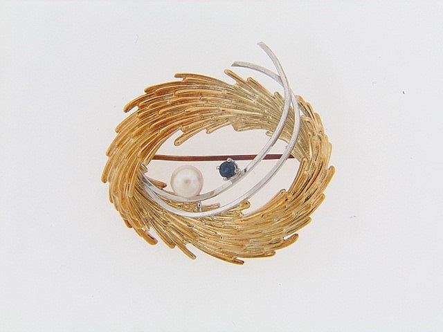14K-GOLD GEMSTONE BROOCH