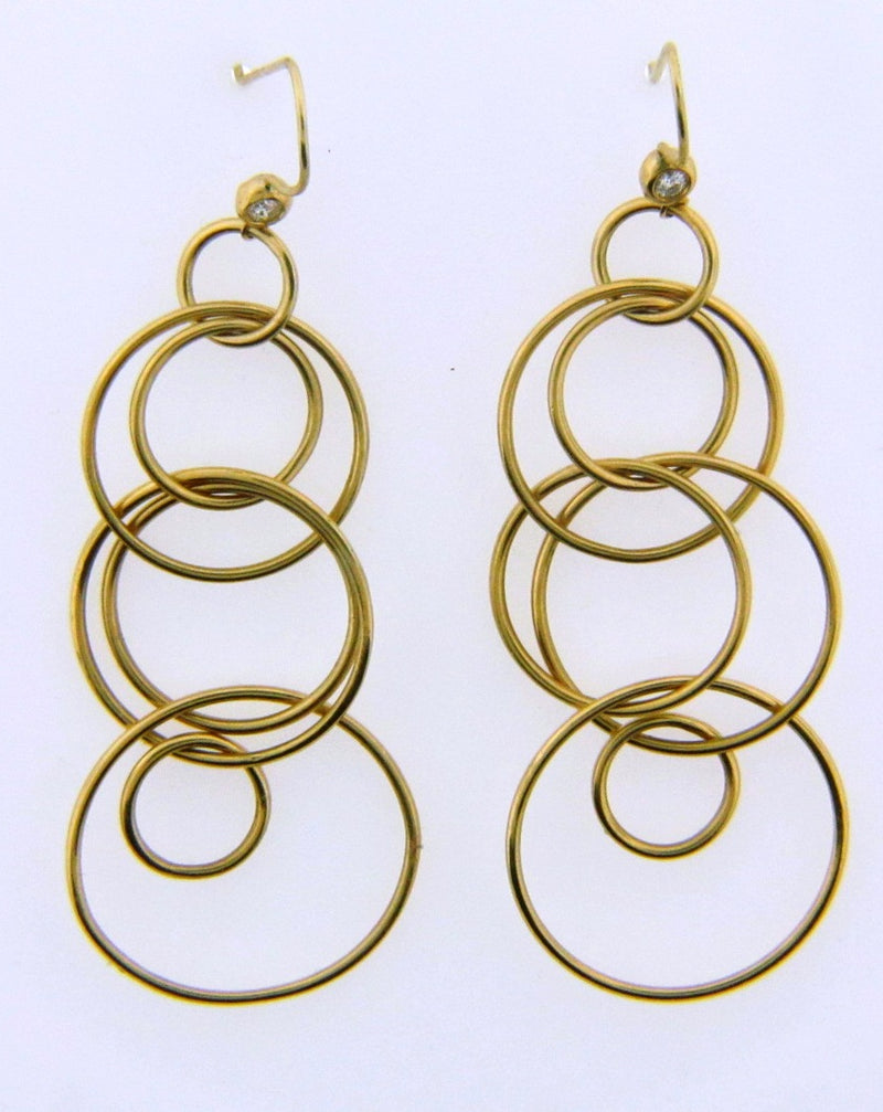 18K Yellow Gold Dangling Diamond Earrings | 18 Karat Appraisers | Beverly Hills, CA | Fine Jewelry