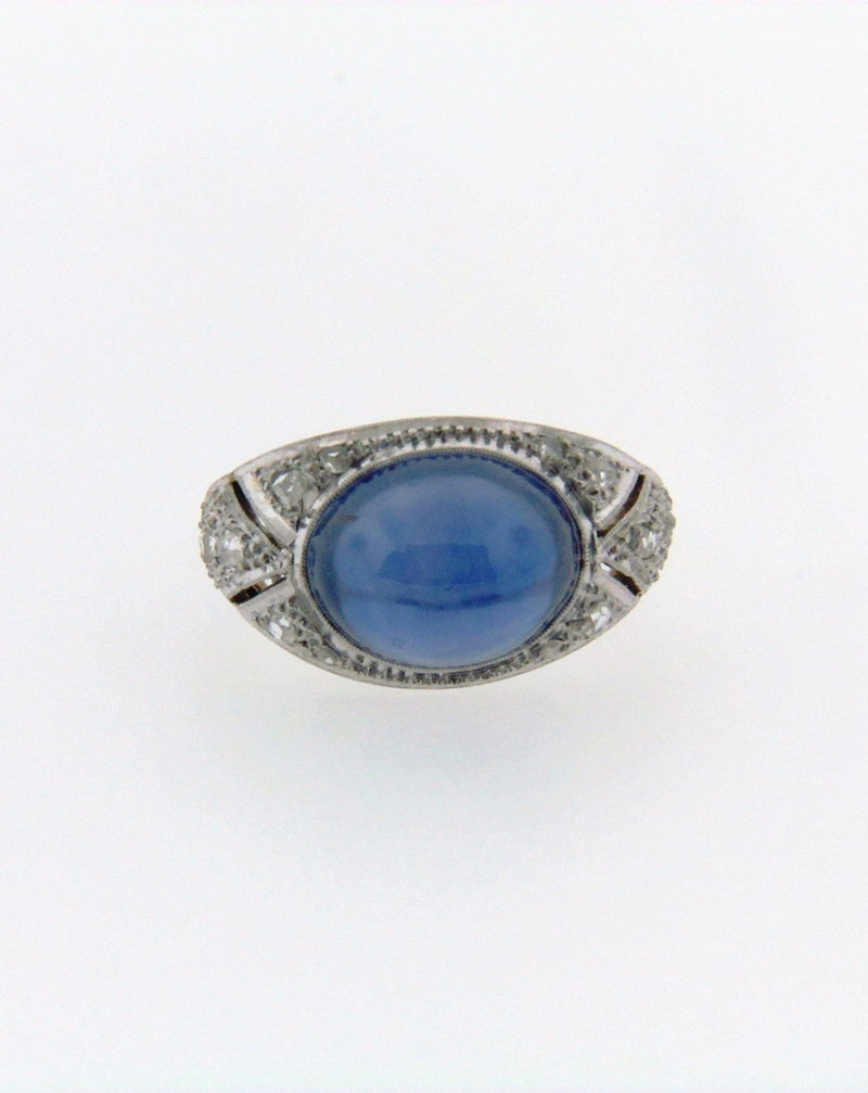 Art Deco 18K White Gold Sapphire and Diamond Ring