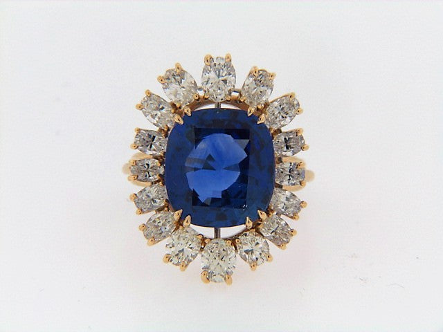 14K-YG+WG CEYLON SAPPHIRE AND DIAMOND RING | 18 Karat Appraisers | Beverly Hills, CA | Fine Jewelry