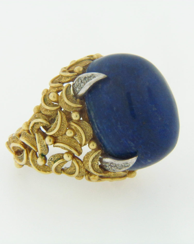 18K YELLOW GOLD LAPIS LAZULI AND DIAMOND RING | 18 Karat Appraisers | Beverly Hills, CA | Fine Jewelry