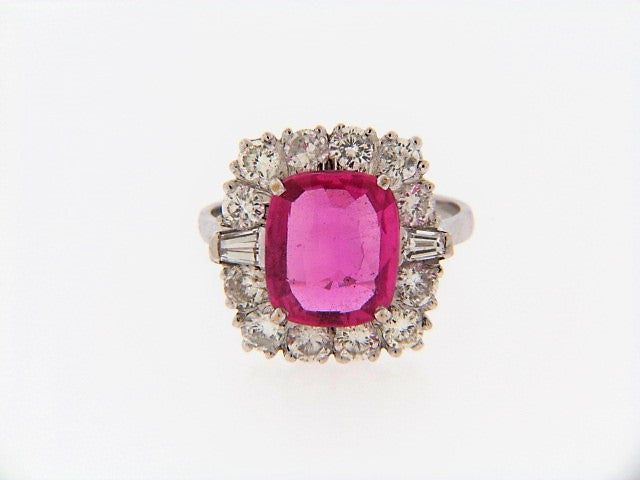 18K-WG PINK SAPPHIRE AND DIAMOND RING