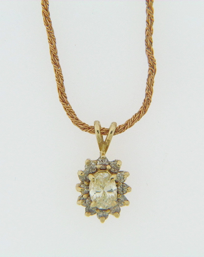14K YELLOW GOLD DIAMOND SOLITAIRE PENDANT | 18 Karat Appraisers | Beverly Hills, CA | Fine Jewelry
