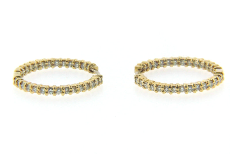 "18K Yellow Gold Diamond Hoop Earrings by ""Roberto Coin"" 