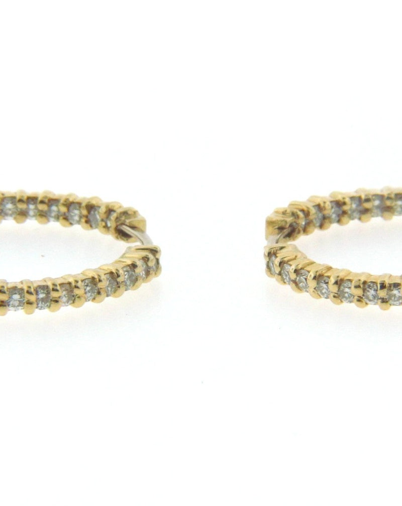 18K Yellow Gold Diamond Hoop Earrings by