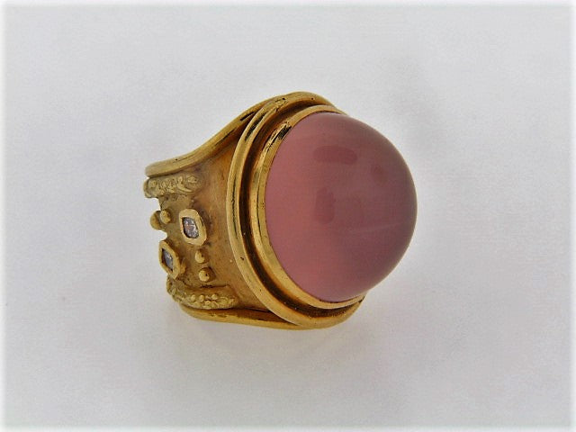 18K-YG ROSE QUARTZ AND DIAMOND RING | 18 Karat Appraisers | Beverly Hills, CA | Fine Jewelry