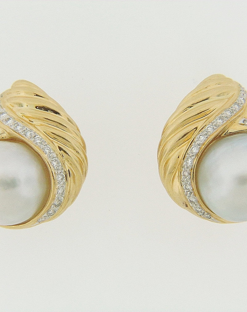 18K YELLOW GOLD PEARL AND DIAMOND EARRINGS | 18 Karat Appraisers | Beverly Hills, CA | Fine Jewelry