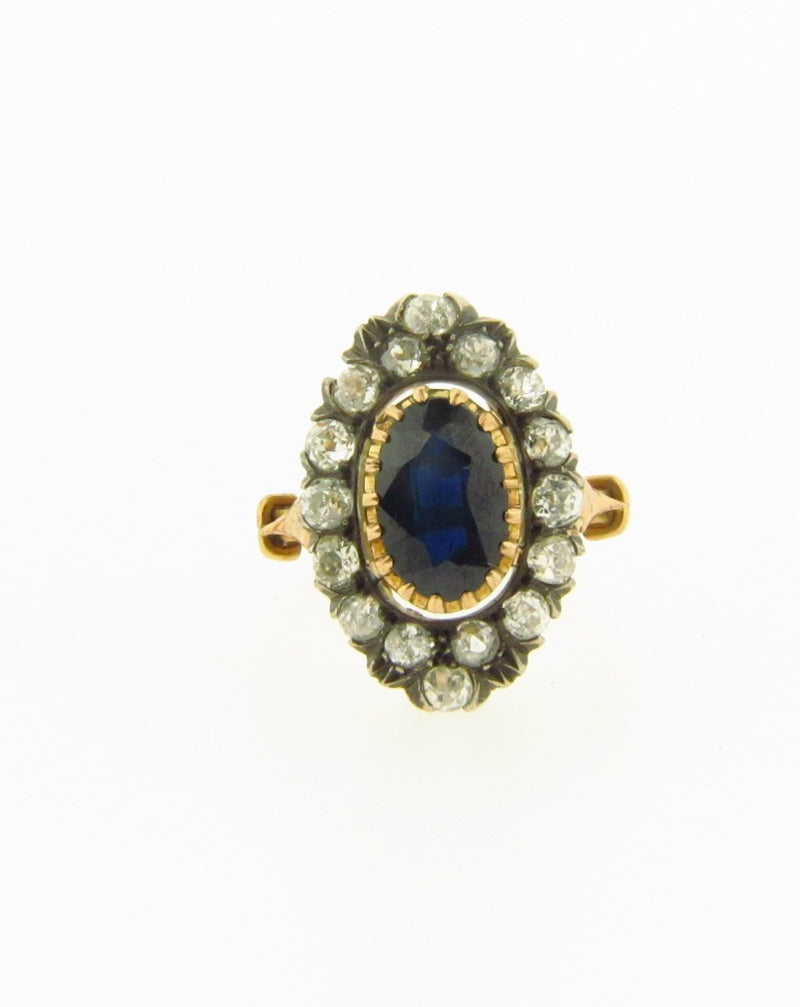 Victorian 18K Yellow Gold Sapphire and Diamond Ring | 18 Karat Appraisers | Beverly Hills, CA | Fine Jewelry
