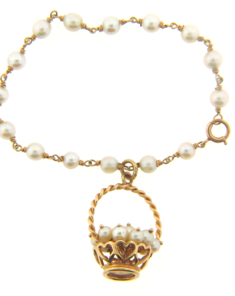 14K Yellow Gold and Pearl Bracelet | 18 Karat Appraisers | Beverly Hills, CA | Fine Jewelry