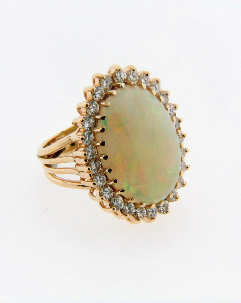 14K Yellow Gold White Opal and Diamond Ring | 18 Karat Appraisers | Beverly Hills, CA | Fine Jewelry