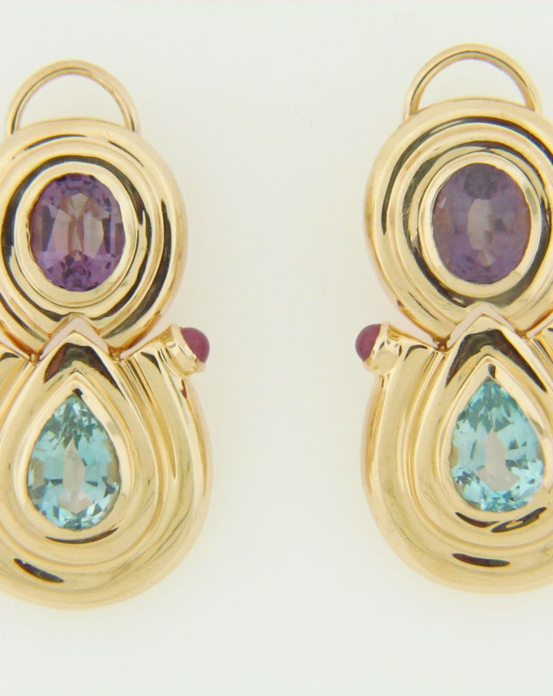 14K-YG BLUE TOPAZ, AMETHYST, AND RUBY EARRINGS | 18 Karat Appraisers | Beverly Hills, CA | Fine Jewelry