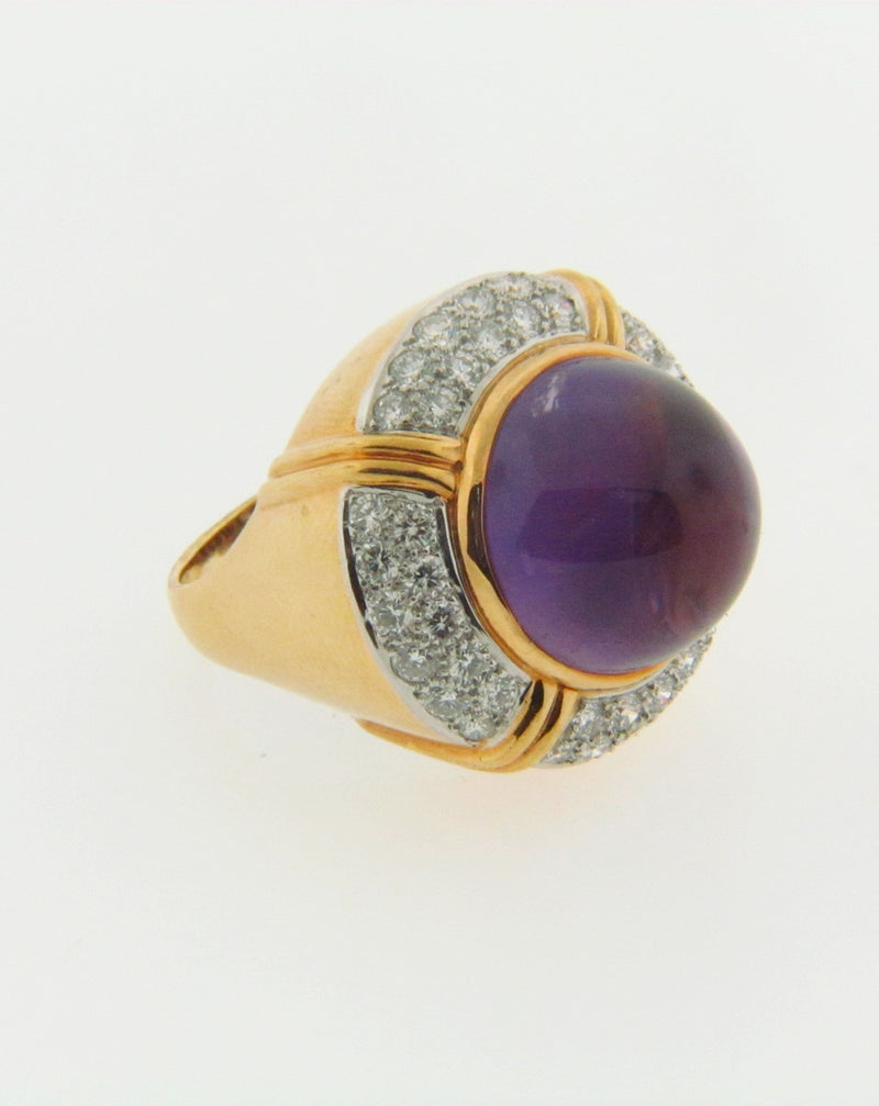 18K-YG Amethyst and Diamond Dome Ring